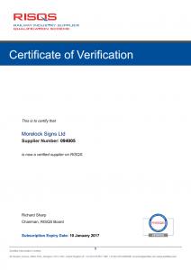 RISQS Community Certificate 2016